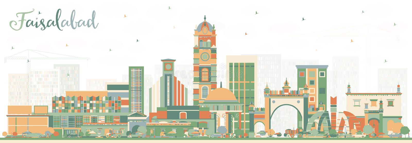 Faisalabad Pakistan City Skyline with Color Buildings. Vector Illustration. Business Travel and Tourism Concept with Modern Architecture. Faisalabad Cityscape royalty free illustration