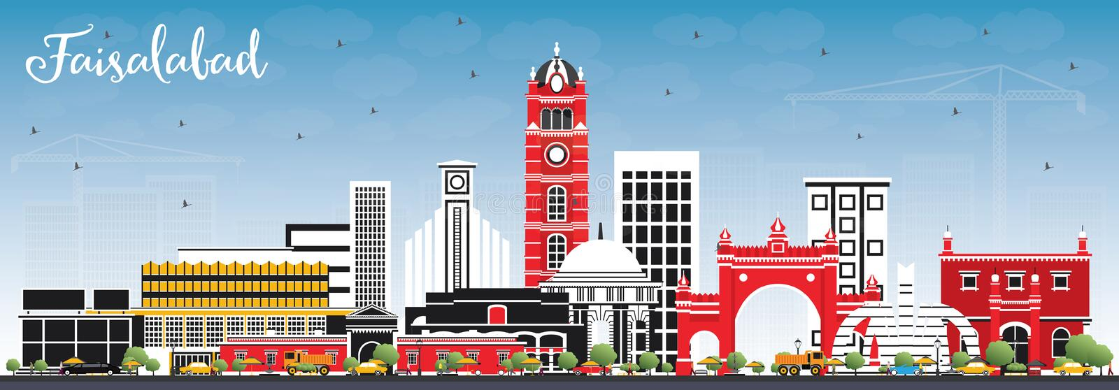 Faisalabad Pakistan City Skyline with Gray Buildings and Blue Sk. Y. Vector Illustration. Business Travel and Tourism Concept with Modern Architecture vector illustration