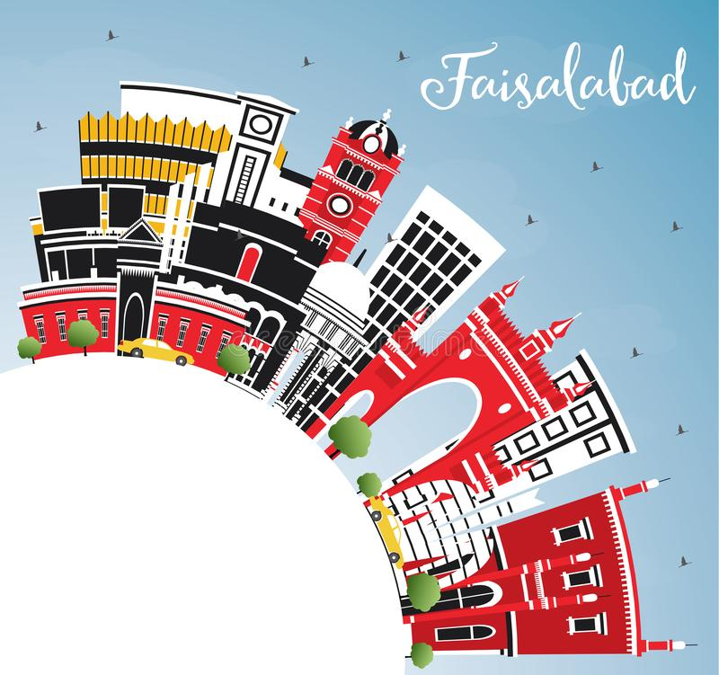 Faisalabad Pakistan City Skyline with Gray Buildings, Blue Sky and Copy Space. Vector Illustration. Business Travel and Tourism Concept with Modern royalty free illustration