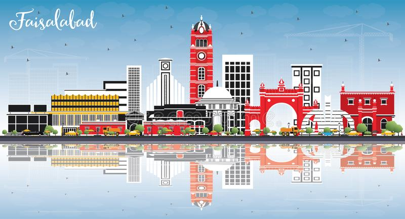 Faisalabad Pakistan City Skyline with Gray Buildings, Blue Sky a. Nd Reflections. Vector Illustration. Business Travel and Tourism Concept with Modern royalty free illustration