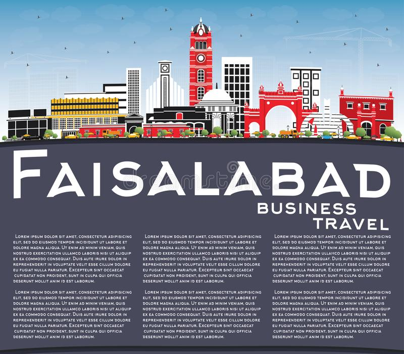 Faisalabad Pakistan City Skyline with Gray Buildings, Blue Sky a. Nd Copy Space. Vector Illustration. Business Travel and Tourism Concept with Modern stock illustration