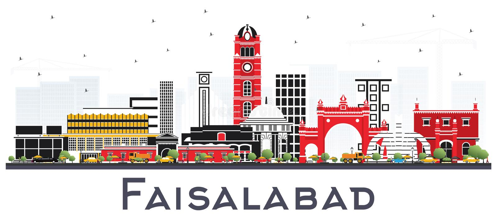 Faisalabad Pakistan City Skyline with Gray Buildings Isolated on. White. Vector Illustration. Business Travel and Tourism Concept with Modern Architecture royalty free illustration