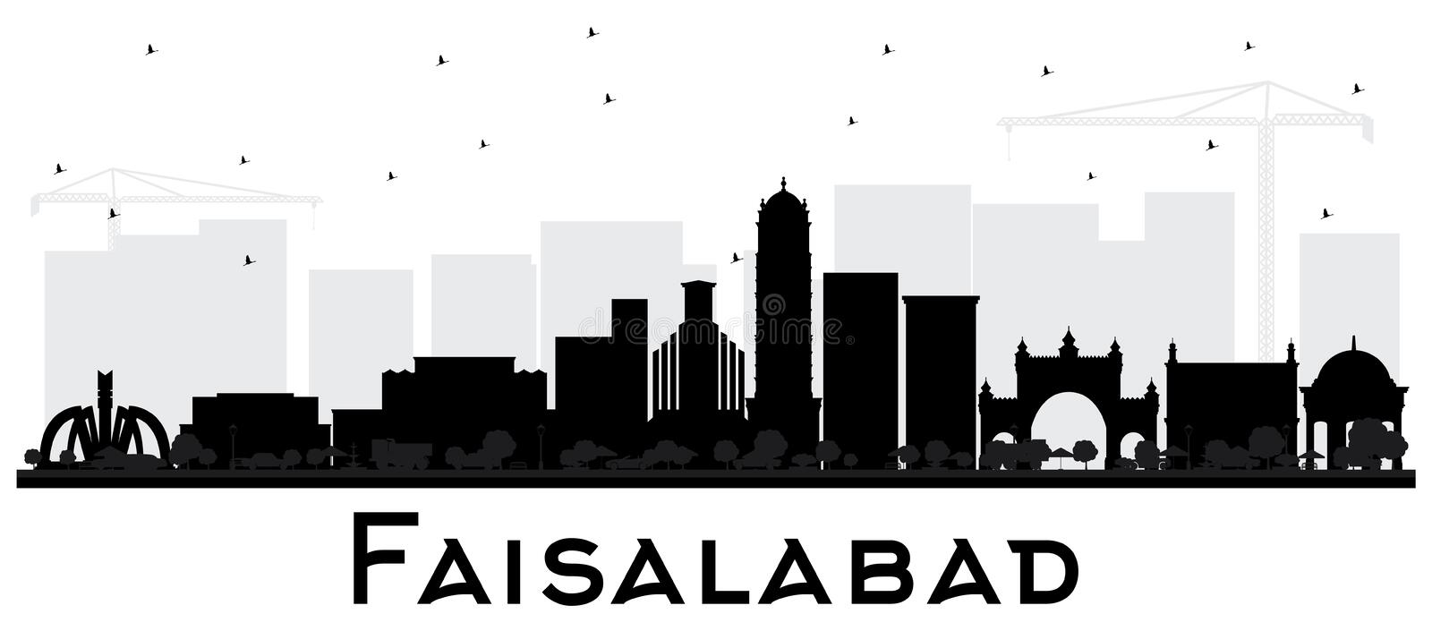 Faisalabad Pakistan City Skyline Silhouette with Black Buildings. Isolated on White. Vector Illustration. Business Travel and Tourism Concept with Modern vector illustration