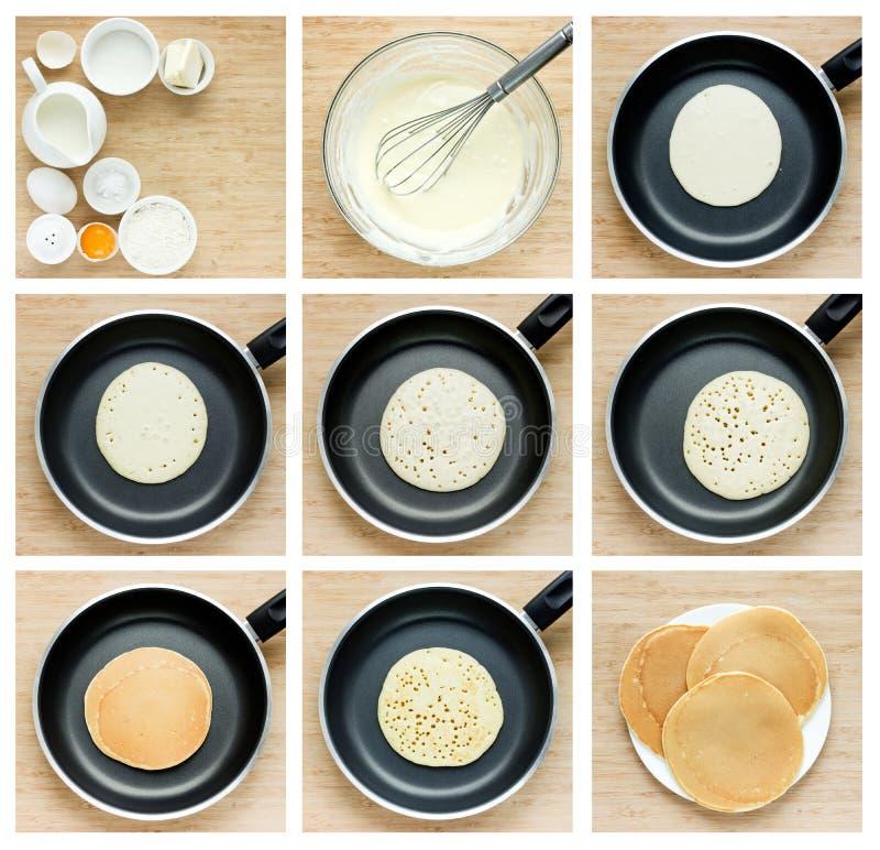 Faisant cuire des crêpes d'instruction Collage de traditio de préparation d'étapes photographie stock