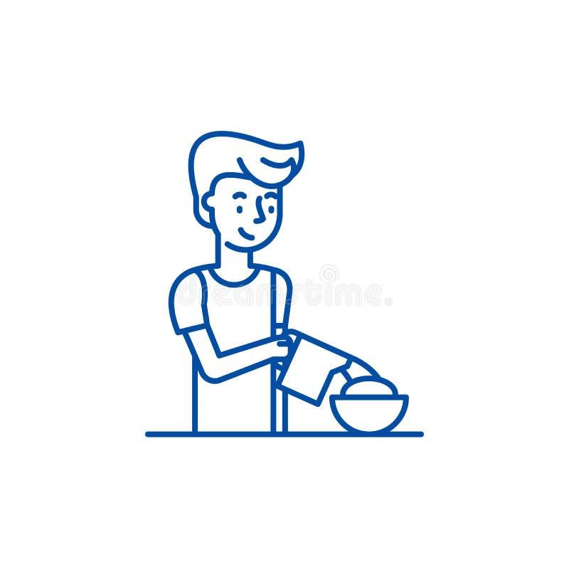 Faisant cuire la ligne concept de petit déjeuner d'icône Cuisson du symbole plat de vecteur de petit déjeuner, signe, illustratio illustration libre de droits
