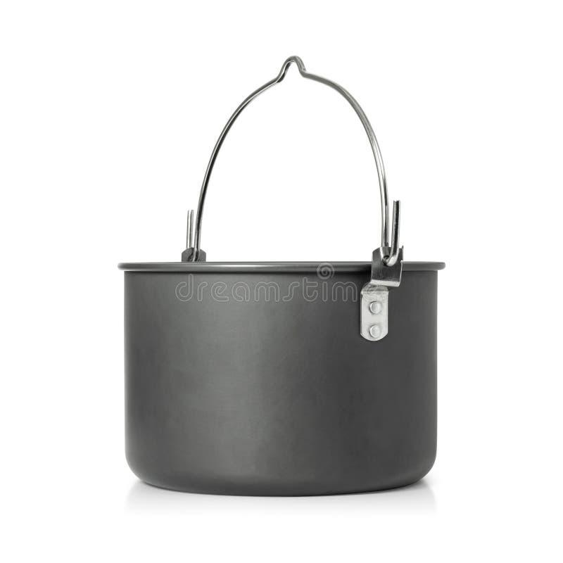 Faisant cuire le bac d'isolement sur le fond blanc Pots ? cuire ext?rieurs pour camper Chemin de coupure photos stock