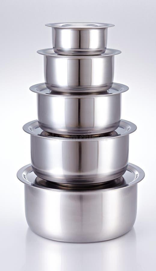Faisant cuire le pot fait d'acier inoxydable images stock