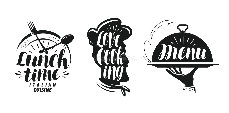 Faisant cuire, logo de cuisine Placez les icônes et les symboles pour le restaurant ou le café de menu de conception illustration stock