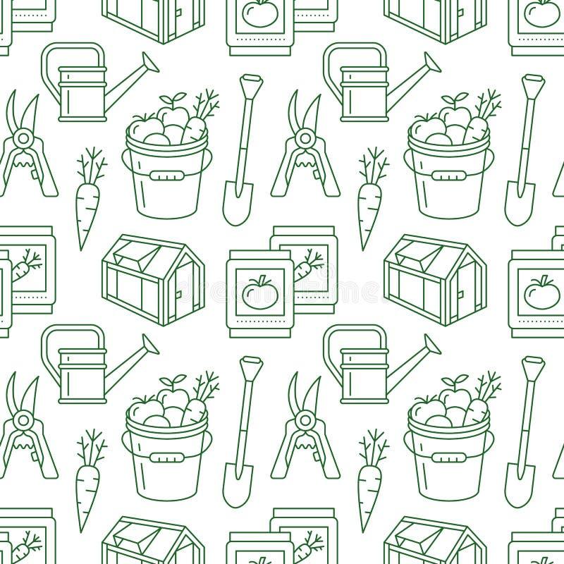 Faisant du jardinage, modèle sans couture vert de plantation et d'horticulture avec la ligne icônes de vecteur Équipement de jard illustration de vecteur