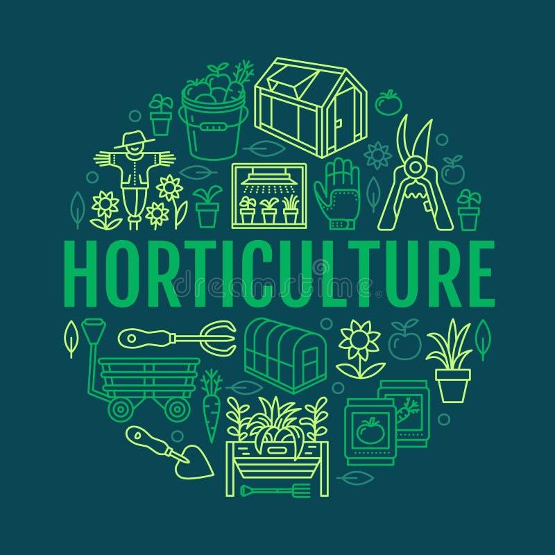 Faisant du jardinage, plantant la bannière d'horticulture avec la ligne icône de vecteur Équipement de jardin, graines organiques illustration stock