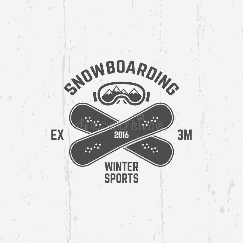 Faisant du surf des neiges, emblème extrême de vecteur de sport d'hiver illustration libre de droits