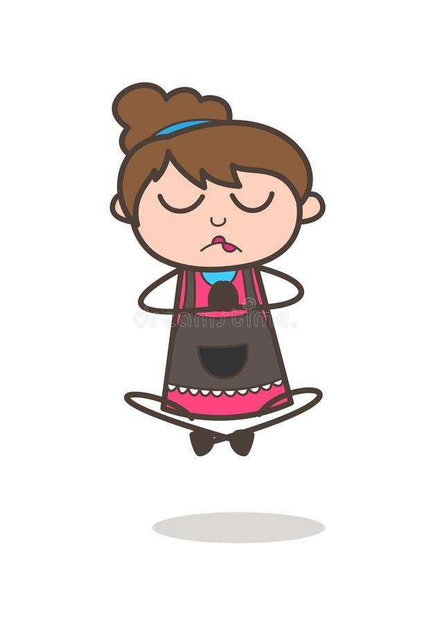 Faisant la méditation - vecteur de Girl Artist Cartoon d'esthéticien illustration stock