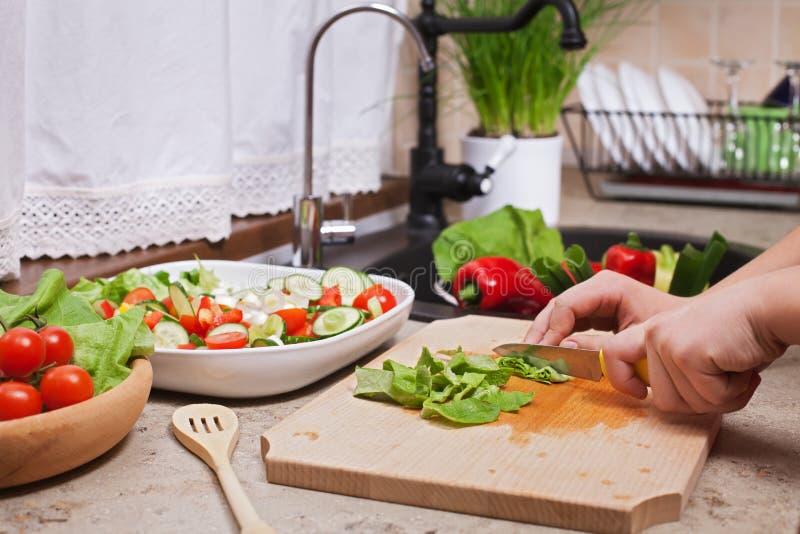 Faisant une salade de cegetables - le hachage de la laitue part images libres de droits