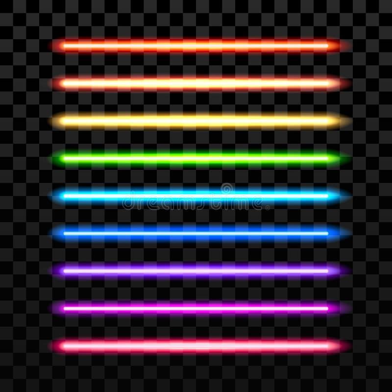 Faisceau coloré réaliste de vecteur de laser sur le fond foncé transparent Arme futuriste d'épée illustration stock