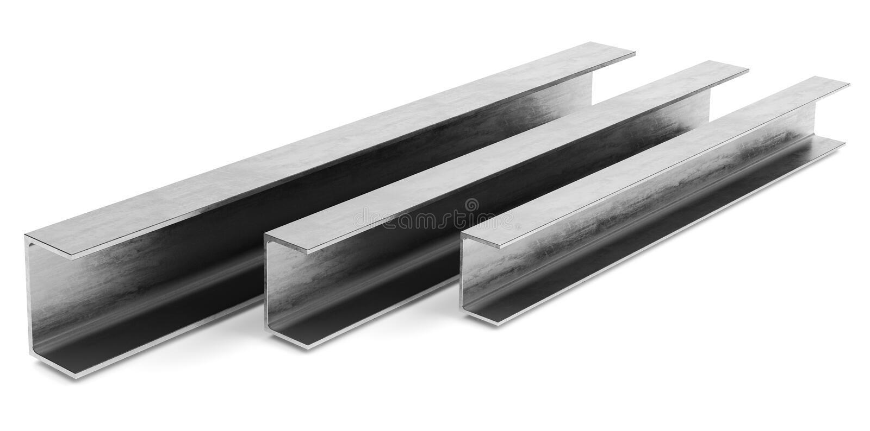 Faisceau de canal en acier sur le fond blanc image libre de droits