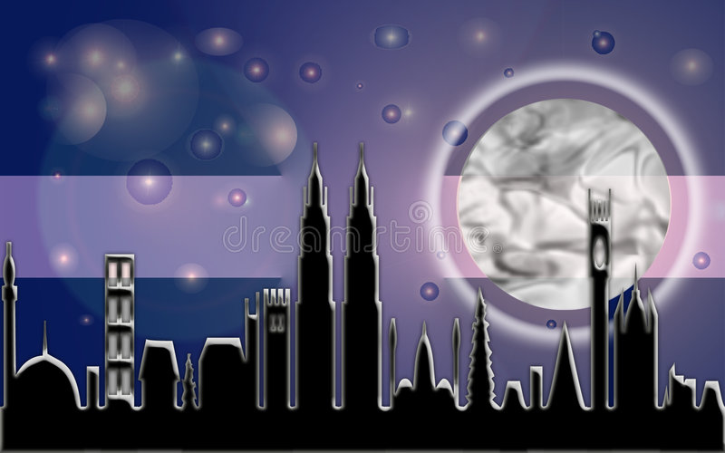 Faisceau de lune de ville illustration libre de droits