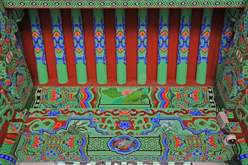 Faisceau de toit de temple de la Corée Busan Beomeosa image stock