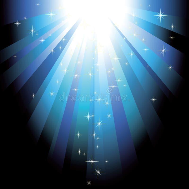 Faisceaux de lumière bleus avec des étoiles de scintillement illustration de vecteur