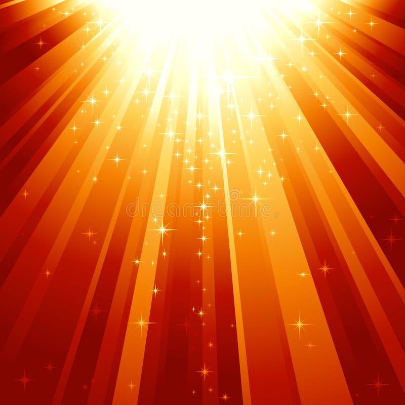 faisceaux descendant les étoiles magiques légères illustration stock