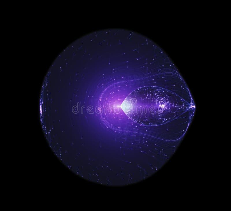 Faisceaux lumineux coulant autour de The Edge d'un vaisseau spatial futuriste formé circulaire La mécanique quantique, antimatièr illustration stock