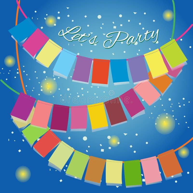 Faisons la fête célébrer les drapeaux colorés image stock