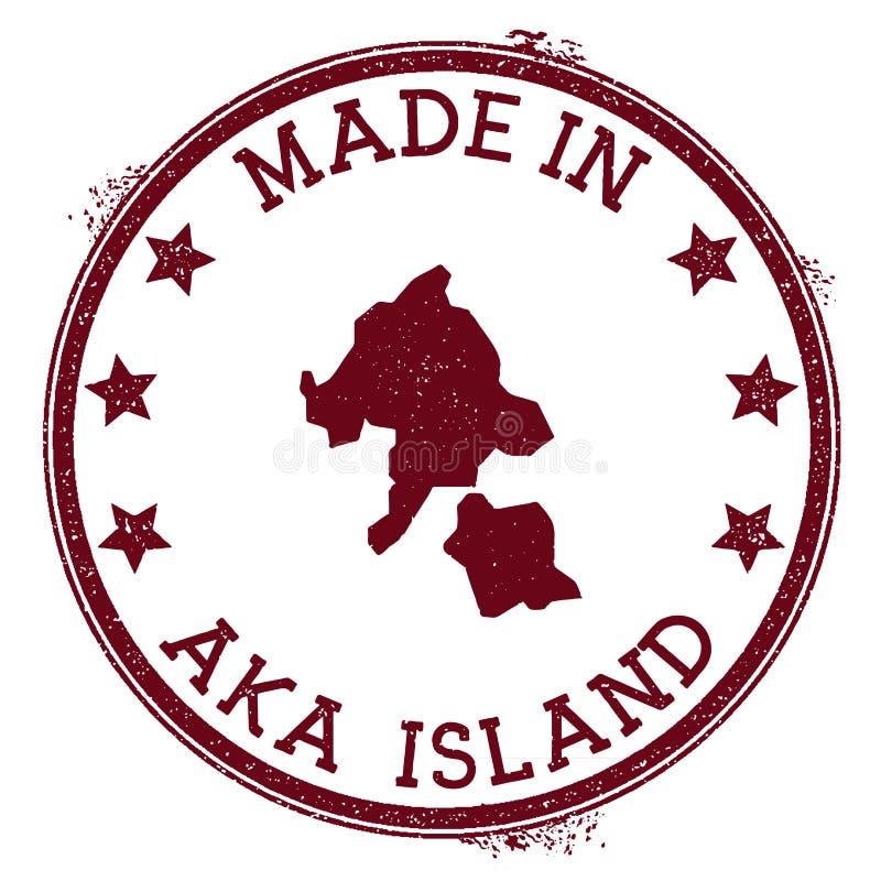 Fait dans Aka le timbre d'île illustration stock