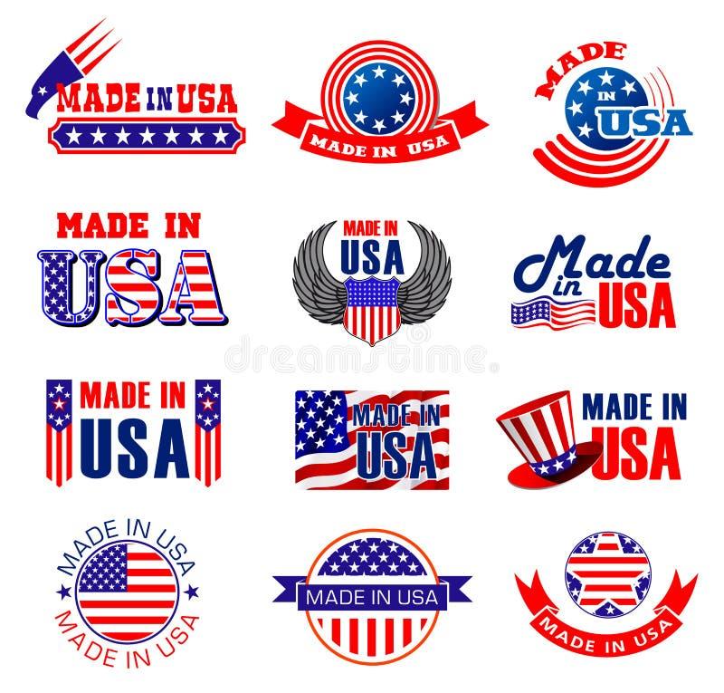 Fait dans des étiquettes de qualité des Etats-Unis illustration libre de droits