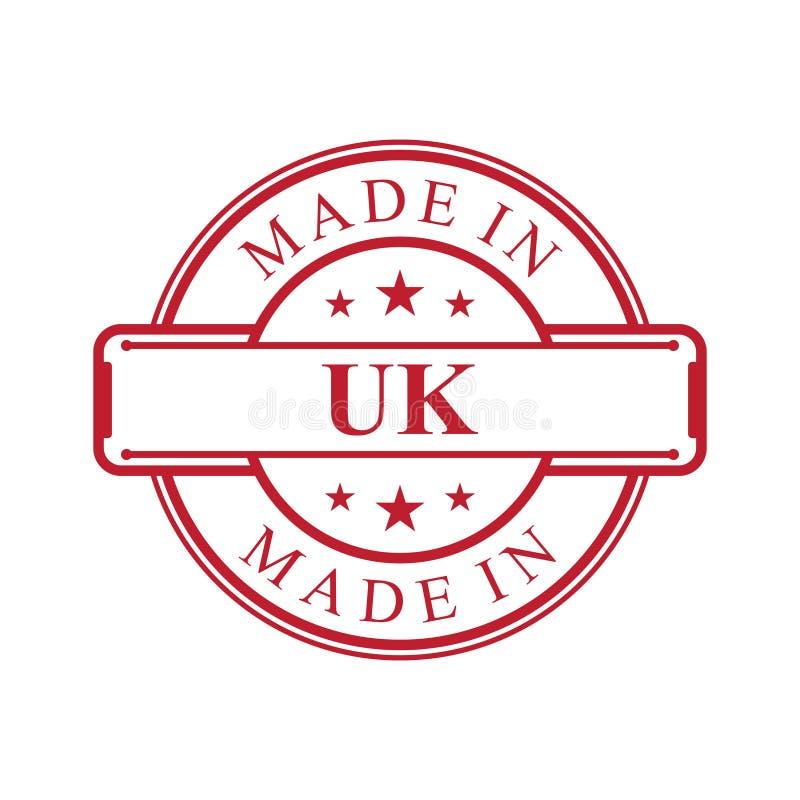 Fait dans l'icône BRITANNIQUE de label avec l'emblème de couleur rouge sur le fond blanc illustration libre de droits