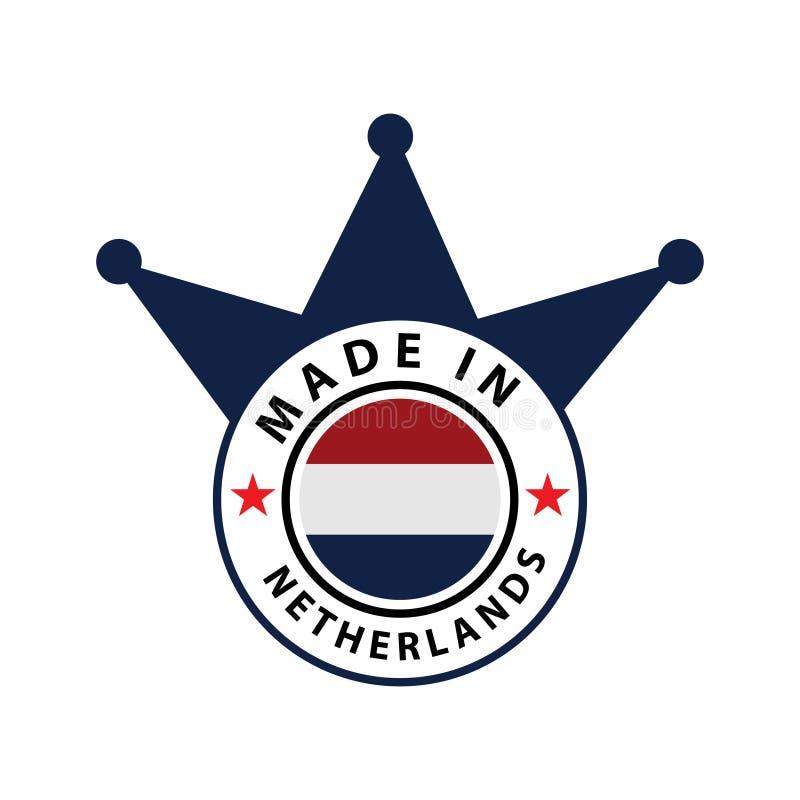 Fait dans l'icône courante des Pays-Bas, conception plate , label illustration de vecteur