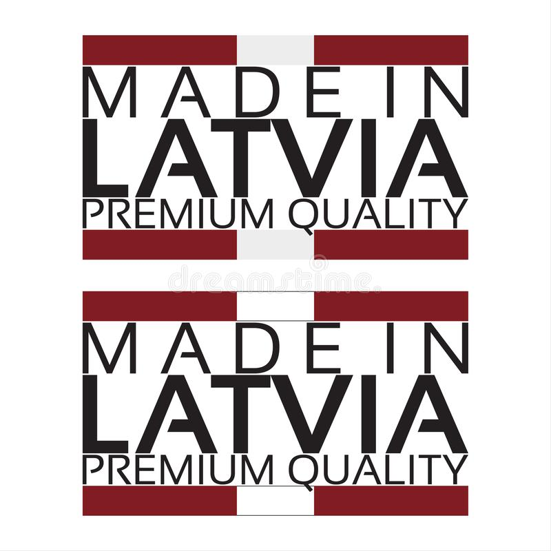 Fait dans l'icône de la Lettonie, autocollant de la meilleure qualité de qualité avec des couleurs lettons illustration stock