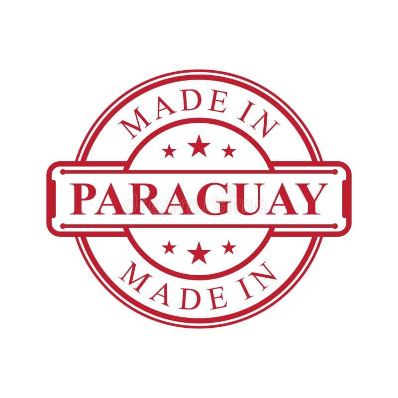 Fait dans l'icône de label du Paraguay avec l'emblème de couleur rouge sur le fond blanc ?l?ment de conception d'embl?me de logo  illustration stock