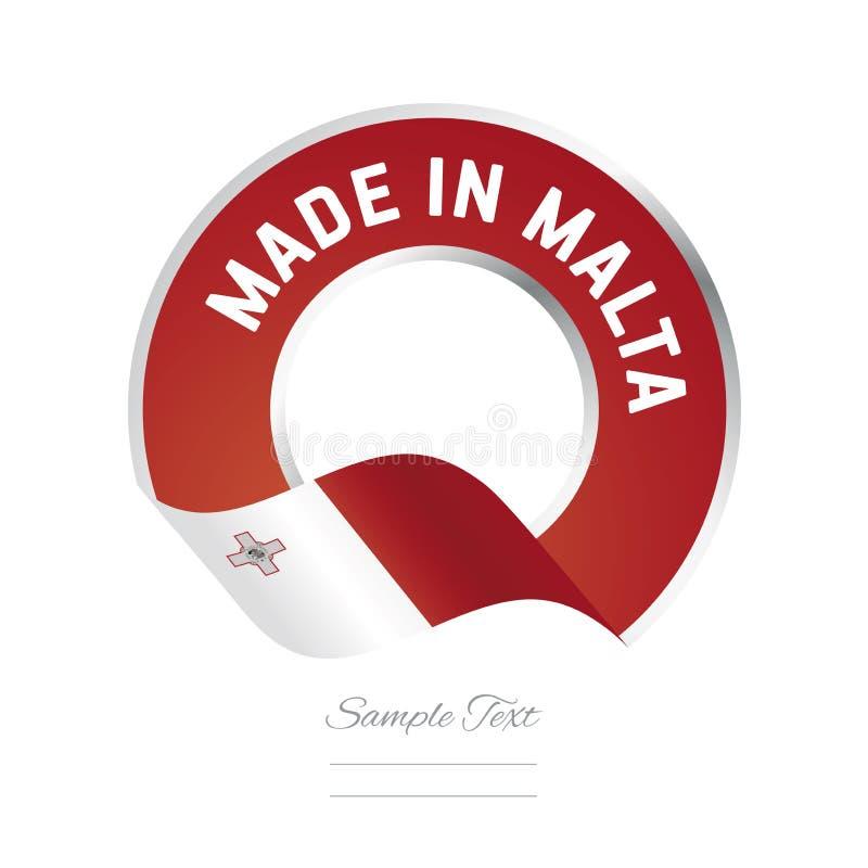Fait dans l'icône de logo de label de couleur rouge de drapeau de Malte illustration libre de droits