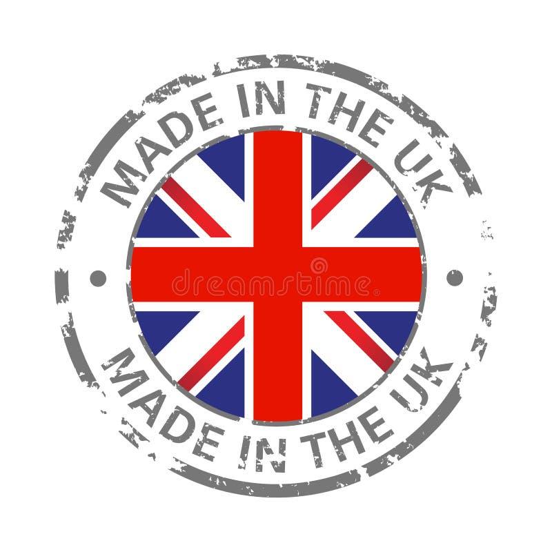 Fait dans l'icône grunge de drapeau britannique illustration libre de droits