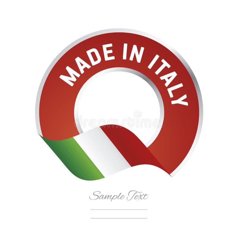 Fait dans la bannière d'icône de logo de bouton de label de couleur verte de drapeau de l'Italie illustration stock