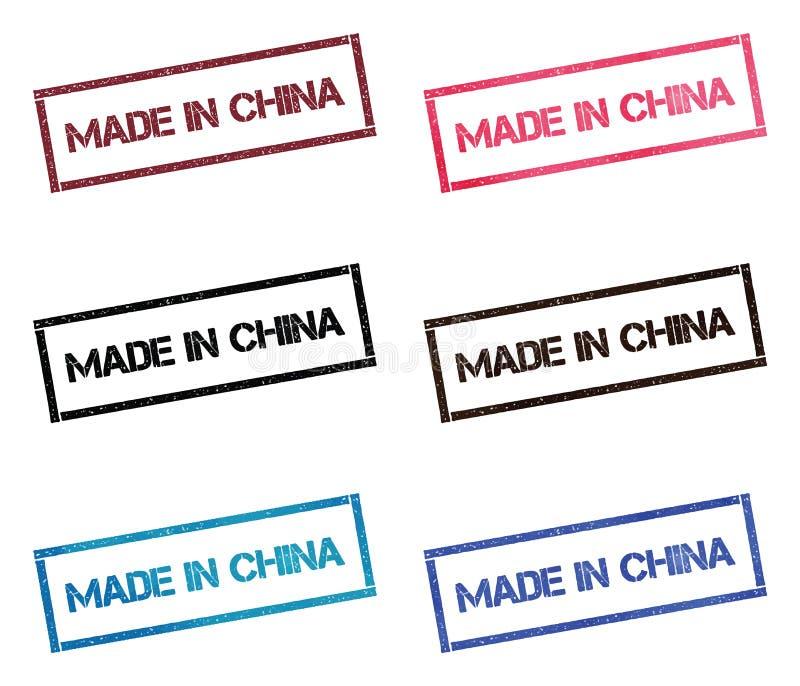 Fait dans la collection de timbre rectangulaire de la Chine illustration libre de droits