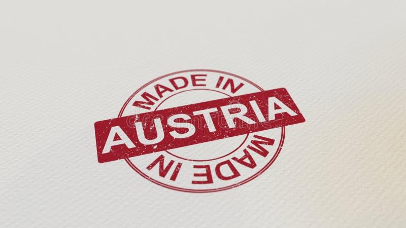 FAIT DANS la copie rouge de timbre de l'AUTRICHE sur le papier rendu 3d illustration libre de droits