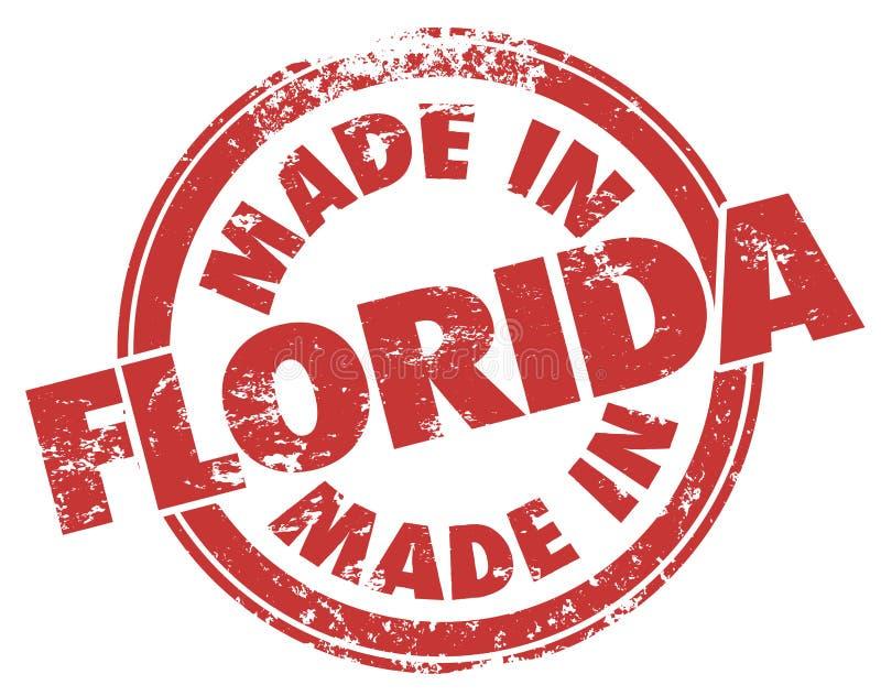 Fait dans le service grunge de produit de FL d'encre rouge de timbre de la Floride illustration de vecteur