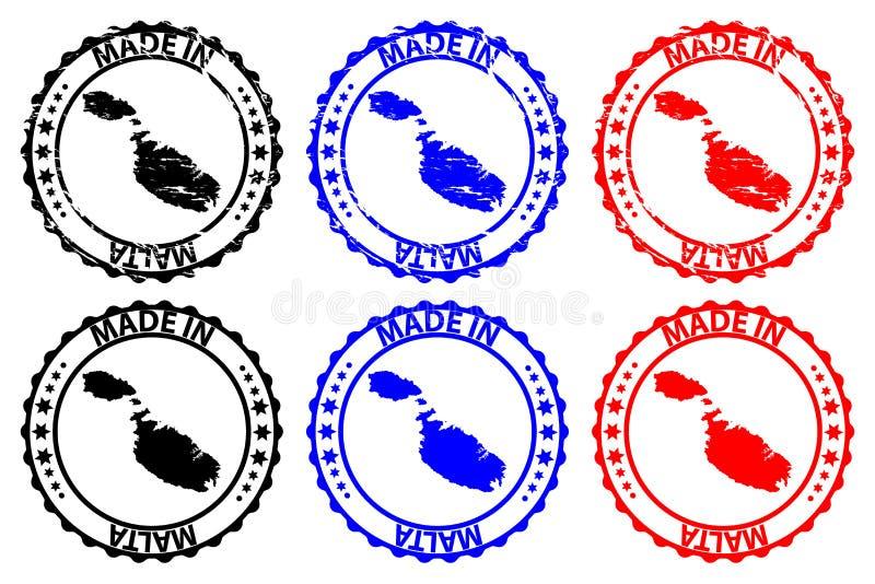 Fait dans le tampon en caoutchouc de Malte illustration stock