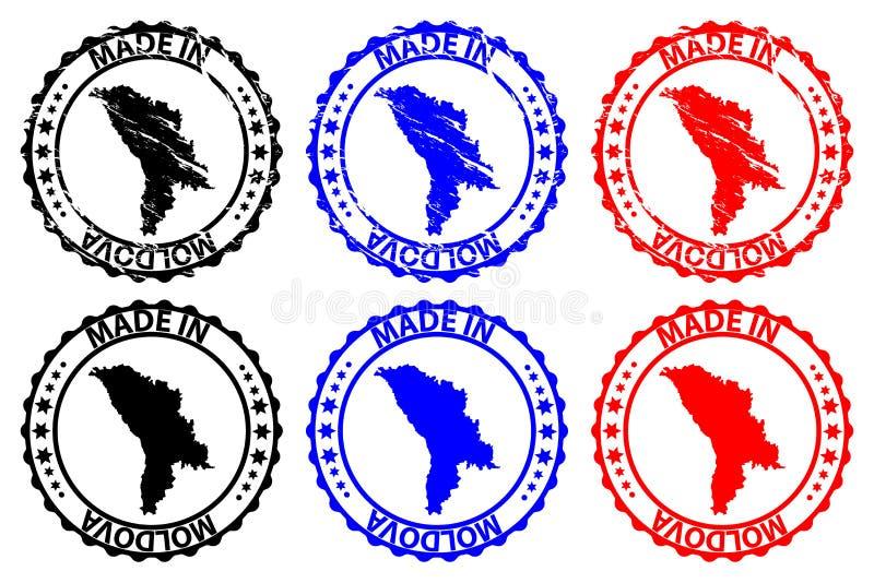 Fait dans le tampon en caoutchouc de Moldau illustration stock