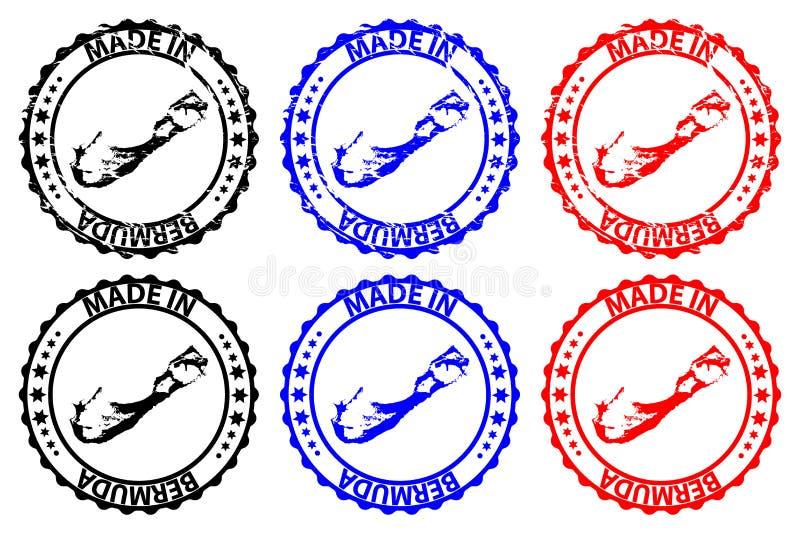 Fait dans le tampon en caoutchouc des Bermudes illustration de vecteur