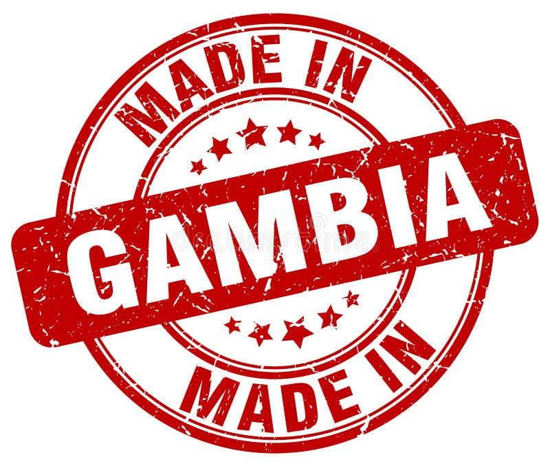 Fait dans le timbre de la Gambie illustration stock
