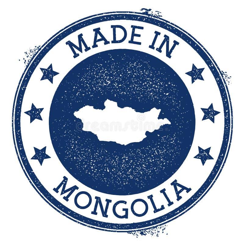 fait dans le timbre de la Mongolie illustration de vecteur