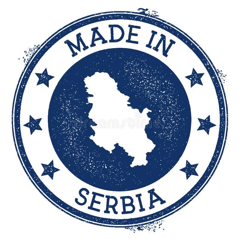 fait dans le timbre de la Serbie illustration de vecteur