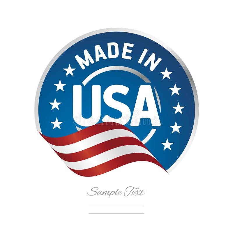 Fait dans le timbre de logo de label des Etats-Unis certifié illustration stock