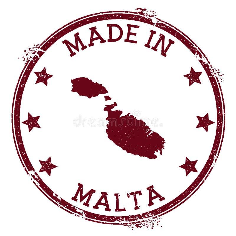 Fait dans le timbre de Malte illustration stock