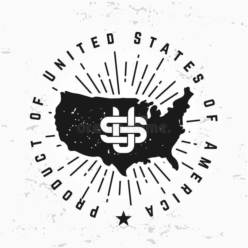 Fait dans le vecteur de monogramme des Etats-Unis sur le fond grunge Conception de logo de l'Amérique de vintage illustration libre de droits