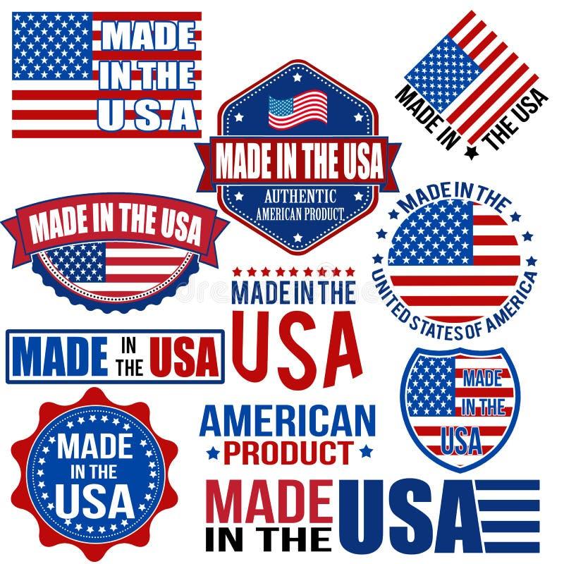 Fait dans les graphiques et des labels des Etats-Unis illustration de vecteur