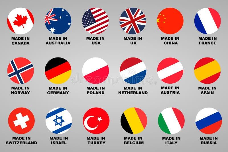 Fait dedans Pays du label 18 réglés avec des drapeaux illustration de vecteur