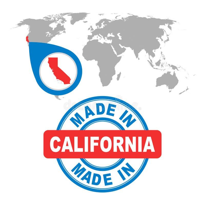 Fait en Californie, l'Amérique, Etats-Unis emboutissent Carte du monde avec le compte rouge illustration stock