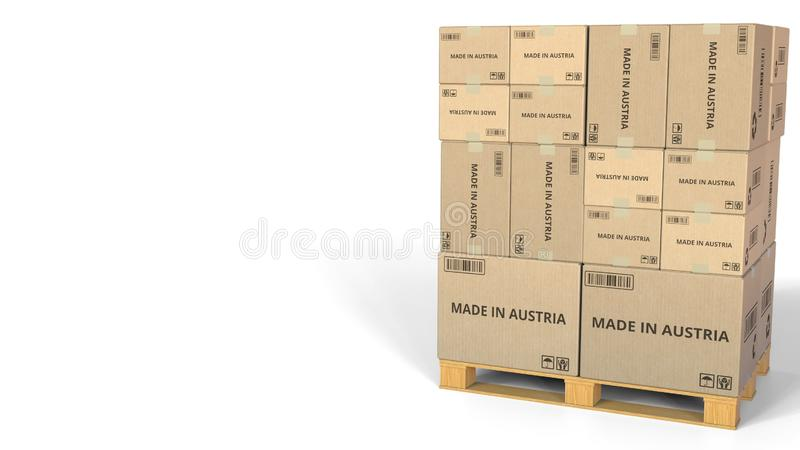 FAIT EN texte de l'AUTRICHE sur des cartons d'entrepôt rendu 3d illustration stock